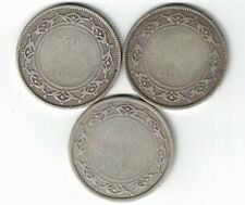 3 X NEWFOUNDLAND FIFTY CENTS QUEEN VICTORIA 925 SILVER COINS 1872H 1874 1882H
