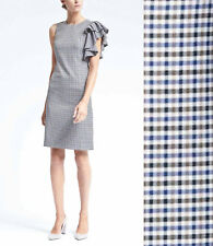 NWT Banana Republic Ruffled Shoulder Sheath Dress Check Gingham Blue 6 Tall S M