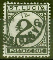 St Lucia 1949 2c Noir SGD7 Très Bien Utilisé
