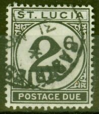 St Lucia 1949 2c Black SGD7 Fine Used