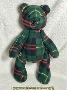Vintage Green/Red Plaid Bear Plush Stuffed Toy with Moveable Arms/Legs Buttons X