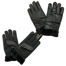 Men Touch Screen Decent Soft Leather Black fur lined Driving Warm Winter Gloves