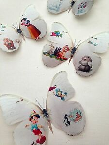 4 Disney 3D Bambi Snow White Thumper Pinocchio Cats Stickers Decals Butterflies