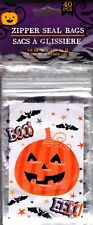 NEW Halloween Treat Bags with Zip Seal (40 Count) Pumpkin BOO