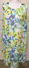 NWT American Living 14W yellow white blue floral tiered sleeveless dress $89