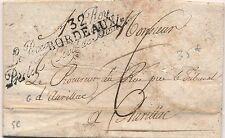 Lettre 32 Bordeaux Gironde Griffe Le Procureur du Roy 1818 Cover Brief