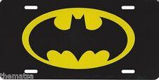 BATMAN METAL CAR LICENSE PLATE BLACK YELLOW LOGO SIGN