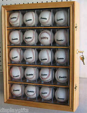 20 Baseball Display Case Shadow box Wall Cabinet, Uv Protection, Lock, B20-Oa