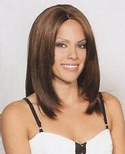 Brown/Auburn Partial Skin Top Straight Wig w/ Long Bangs