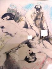 EROTISME DE COUPLE -EAU FORTE AQUARELLEE 1930 PAR BERTHOMME SAINT-ANDRE - ERO VI