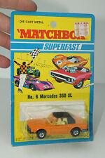 MATCHBOX SUPERFAST #6 MERCEDES 350SL, ORANGE, NEW IN BLISTERPACK