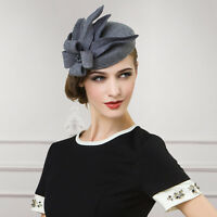Gray Womens Wool Felt Cheltenham Fascinator Hat Cocktail Party Solid Color A302