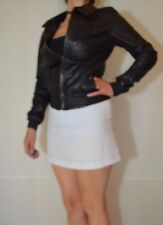 Women Black Jacket elasticated hem Real Leather Asos Size 8
