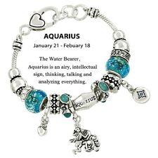 Birthstone Bracelet Murano European Beads Aquarius SILVER BLUE January February