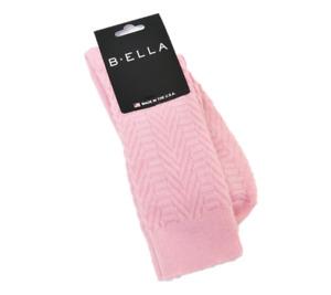B. Ella Ladies 74% Merino Wool Blend Crew Socks Nina Herringbone Pink - NEW
