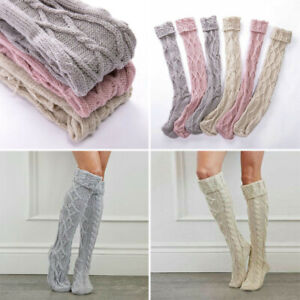 Womens Winter Warm Long Boot Cable Knit Sock Over Knee Thigh-High Socks Leggings