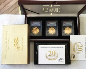 2006 W  GOLD EAGLE 20TH ANNIVERSARY SET Pcgs -69 3 Coin Set- MS69 RP69  PF69