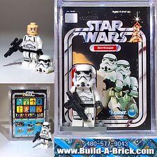 Star Wars New Hope Stormtrooper custom MINIFIGURE w/Display Case & lego stand 34