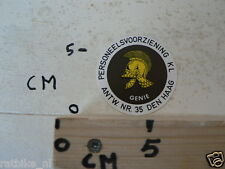STICKER,DECAL KL EMBLEEM PERSONEELSVOORZIENING ANTW NR 35 DEN HAAG