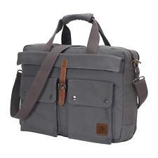 17 inch Canvas Laptop Computer Bag Messenger Bag Multi-Compartment Briefcase