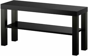Modern Bench Stand TV Media Storage Lower Shelf Slim Narrow Plasma Table Black