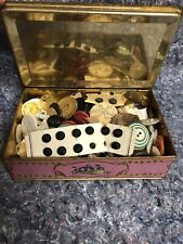 New listing Lot Of Assorted Antique & Vintage Buttons In Louis Sherry Tin