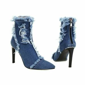 Womens Ankle Boots Stiletto High Heels Pointed Toe Denim Zip Party Club Shoes