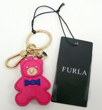 FURLA Arianna Bear Key Ring Fob Bag Charm NWT PINKY Leather