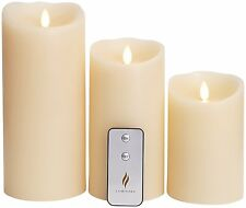 "Set of 3 Luminara Flameless Candles: 5"" 7"" 9"" Ivory Moving Flame Candles Timer"