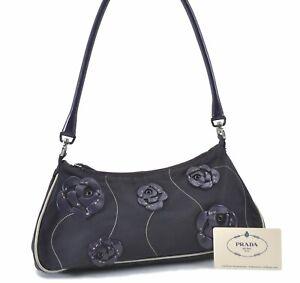 Authentic PRADA Rose Motif Nylon Leather Shoulder Hand Bag Purple D9869