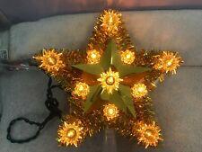 Christmas tree topper gold tinsel 11 orange light star Ch4047
