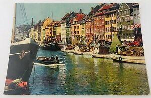 Vintage Nyhavn Canal Copenhagen Denmark Postcard Boats Cafe Cars