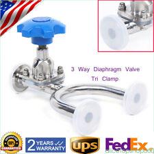 "New listing 3/4"" 316L Sanitary Stainless Steel Tri Clamp Manual 3-Way Diaphragm Valve U Type"