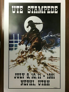 1981 UTE STAMPEDE Rodeo Poster signed by Artist  Larry Nielson