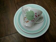 More details for vintage 1950s burleigh ware trio tea cup saucer + tea plate pastel floral vgc