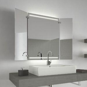 ► Klappspiegel beleuchtet Soma ★ Wandspiegel mit LED Beleuchtung ★ A++