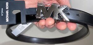 """MICHAEL KORS BELT BLACK/BROWN REVERSIBLE WITH MK SILVER BUCKLE 34""""  MSRP $78.00"""