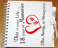 Álbum de recortes, libro de memoria Personalizado, álbum de fotos, 18th Cumpleaños, arco de satén blanco