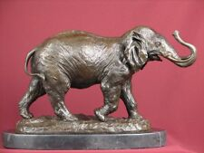 SIGNED BRONZE STATUE ELEPHANT SCULPTURE AFRICAN SAFARI ON MARBLE BASE