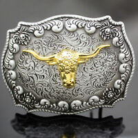 Vintage WESTERN Silver Belt Buckle Engraved Gold Horn Bull OX Head Rodeo Cowboy