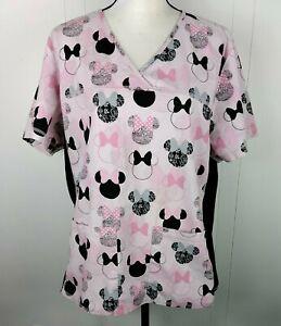 Disney Pink Minnie Mouse Head Scrubs Shirt Top with Pockets Women's Size XL