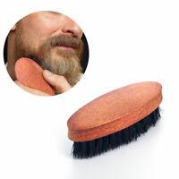 Men Mustache Boar Hair Brush Bristle Beard Military Hard Round Wood Handle Comb