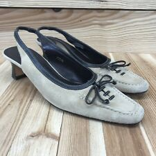 Vaneli Shoes 7.5 N Narrow Closed Toe Slingback Tan Brown Suede Lace-Up Bow B156
