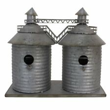 Farmhouse Twin SILO Birdhouse Country Charm detailed Galvanized Metal Farmer