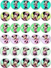 30 X  PINK MINNIE MOUSE IMAGES EDIBLE CUPCAKE TOPPERS PREMIUM RICE PAPER 241