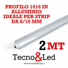 PROFILO LED ALLUMINIO ANGOLARE 2MT 5 PEZZI 1616  STRIP 8-10 MM COP TRASPARENTE
