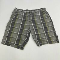 Unionbay Chino Shorts Mens 40 Gray Green Flat Front Cotton Plaids Slash Pockets
