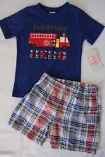 Baby Boys 2 Pc Set 3 - 6 Months Outfit T Shirt Shorts Fire Truck Hero Fireman