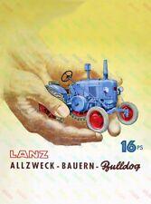 LANZ Bulldog Tractor Advertising/Brochure Poster A3