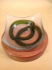 Modern Contemporary Hand Crafted Frosted Green And Clear Glass Dish